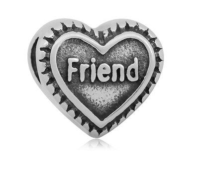 Bedels en Kralen Bedel friend hartje zilverkleurig voor bedelarmbanden