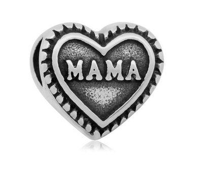 Bedels en Kralen Bedel mama zilverkleurig voor bedelarmbanden