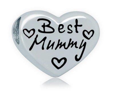 Bedels en Kralen Best Mummy hartje bedel zilverkleurig