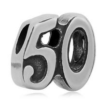 Bedels en Kralen Bedel 50 zilverkleurig