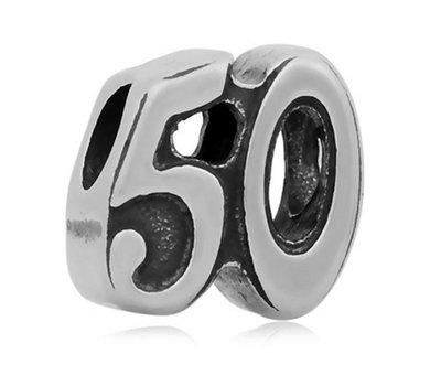 Bedels en Kralen Bedel 50 zilverkleurig voor bedelarmbanden