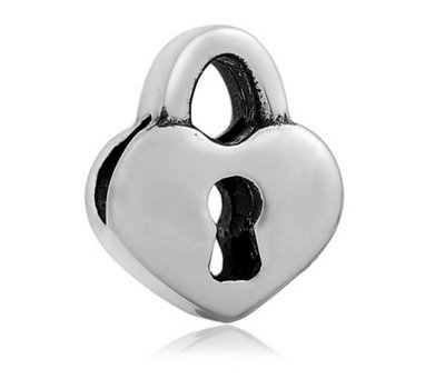 Bedels en Kralen Bedel liefdesslot zilverkleurig voor bedelarmbanden