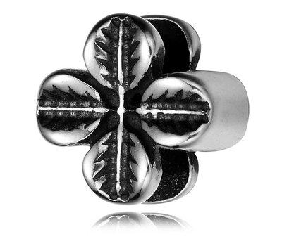 Bedels en Kralen Bedel klavertje vier zilverkleurig voor bedelarmbanden