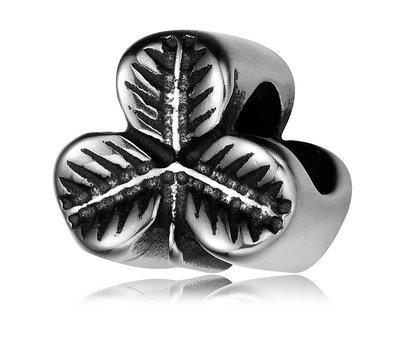 Bedels en Kralen Bedel klavertje drie zilverkleurig voor bedelarmbanden