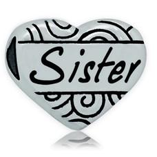 Bedels en Kralen Bedel hart sister zilverkleurig