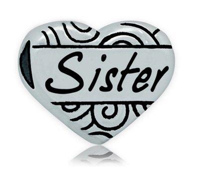 Bedels en Kralen Bedel hart sister zilverkleurig voor bedelarmbanden