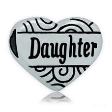 Bedels en Kralen Bedel hart daughter zilverkleurig