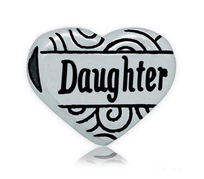 Bedels en Kralen Bedel hart  daughter zilverkleurig voor bedelarmbanden