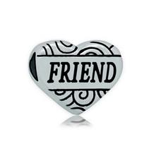 Bedels en Kralen Bedel hart friend zilverkleurig