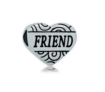 Bedels en Kralen Bedel hart friend zilverkleurig voor bedelarmbanden