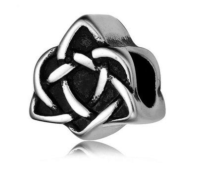 Bedels en Kralen Bedel keltisch hart zilverkleurig voor bedelarmbanden