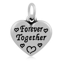 Hangende Bedels Hangende bedel Forever together hartje zilverkleurig