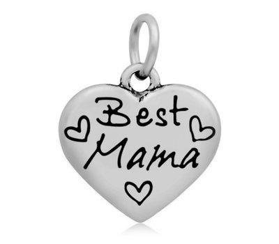 Hangende Bedels Hangende bedel Best Mama hartje zilverkleurig