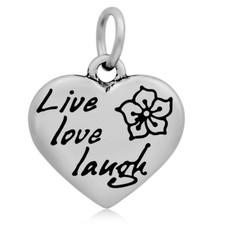 Hangende Bedels Hangende bedel Live love laugh hartje zilverkleurig
