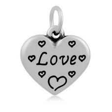 Hangende Bedels Hangende bedel Love hartje zilverkleurig