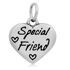 Hangende Bedels Hangende bedel Special friend hartje zilverkleurig
