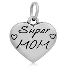 Hangende Bedels Hangende bedel super mama zilverkleurig