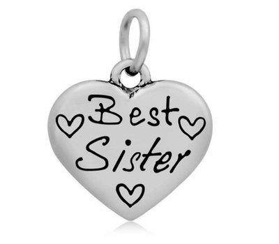 Hangende Bedels Hangende bedel Best sister hartje zilverkleurig