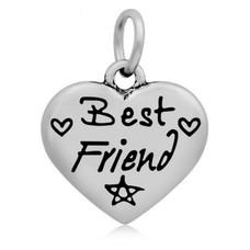 Hangende Bedels Hangende bedel Best friend hartje zilverkleurig