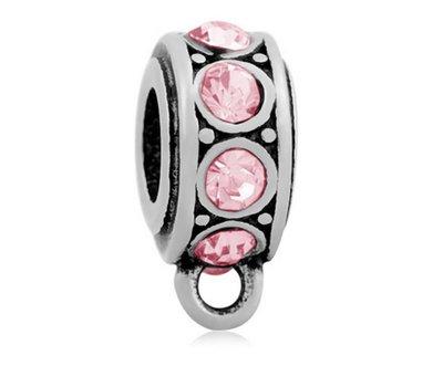 Hangende Bedels Bedel met oog kristal roze zilverkleurig