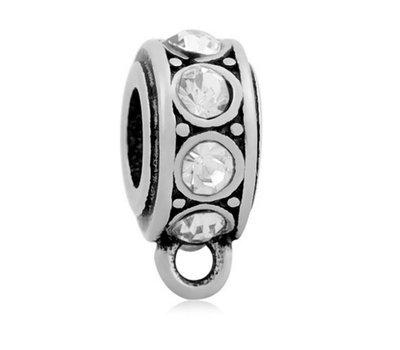 Hangende Bedels Bedel met oog kristal wit zilverkleurig