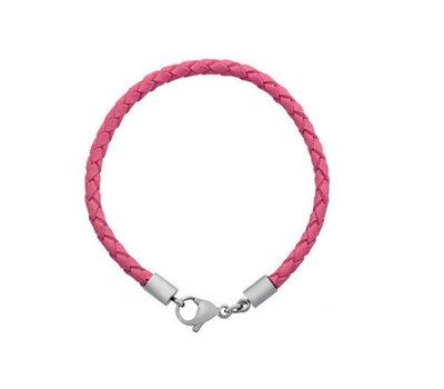 Armband voor Bedels Bedelarmband leer licht roze