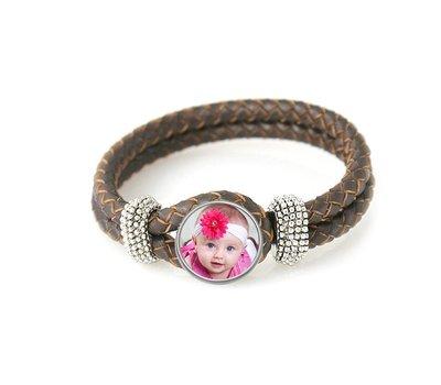 Armband met Foto Knoop Armband met Foto Donker Bruin