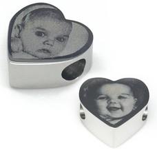 Bedels en Kralen Fotobedel hart zilverkleurig