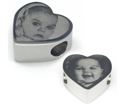 Bedels en Kralen Fotobedel hart zilverkleurig voor bedelarmband
