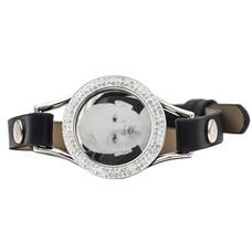 Graveer Armbanden Zwarte Leren Armband met foto graveer munt smal zilverkleurig met strass