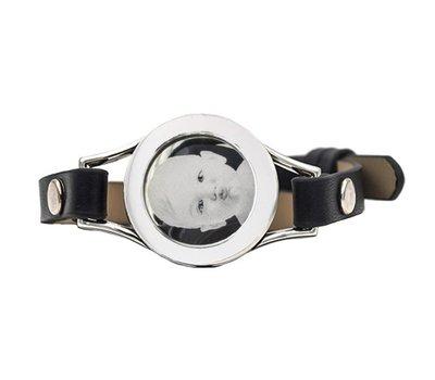 Graveer Armbanden Zwarte Leren Armband met foto graveer munt smal zilverkleurig