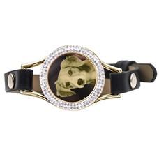 Graveer Armbanden Zwarte Leren Armband met foto graveer munt smal goudkleurig met strass