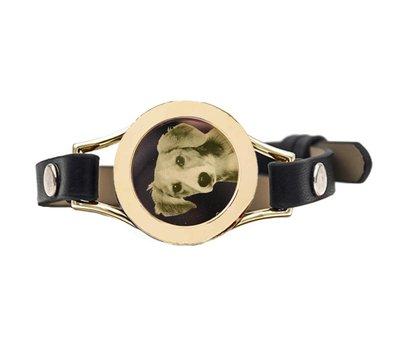 Graveer Armbanden Zwarte Leren Armband met foto graveer munt smal goudkleurig