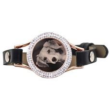 Graveer Armbanden Zwarte Leren Armband met foto graveer munt smal rosé goudkleurig met strass