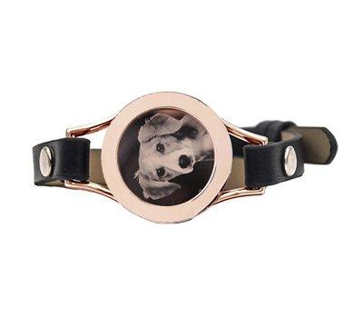 Graveer Armbanden Zwarte Leren Armband met foto graveer munt smal rosé goudkleurig
