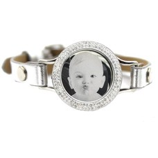 Graveer Armbanden Grijze Leren Armband met foto graveer munt smal zilverkleurig met strass