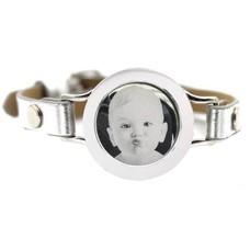 Graveer Armbanden Grijze Leren Armband met foto graveer munt smal zilverkleurig