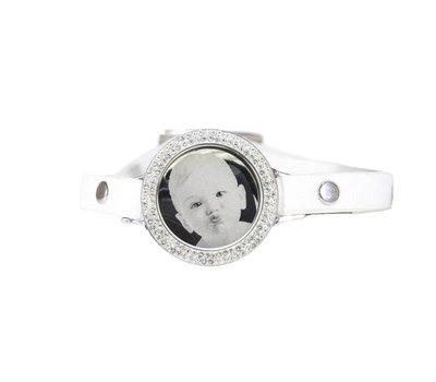 Graveer Armbanden Witte Leren Armband met foto graveer munt smal zilverkleurig met strass