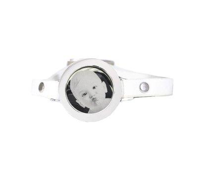 Graveer Armbanden Witte Leren Armband met foto graveer munt smal zilverkleurig