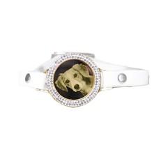 Graveer Armbanden Witte Leren Armband met foto graveer munt smal goudkleurig met strass