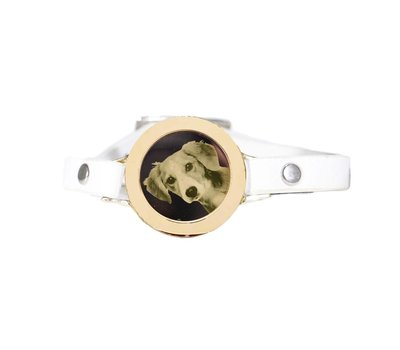 Graveer Armbanden Witte Leren Armband met foto graveer munt smal goudkleurig