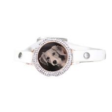 Graveer Armbanden Witte Leren Armband met foto graveer munt smal rosé goudkleurig met strass
