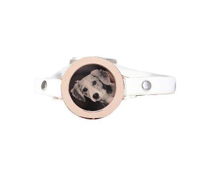 Graveer Armbanden Witte Leren Armband met foto graveer munt smal rosé goudkleurig
