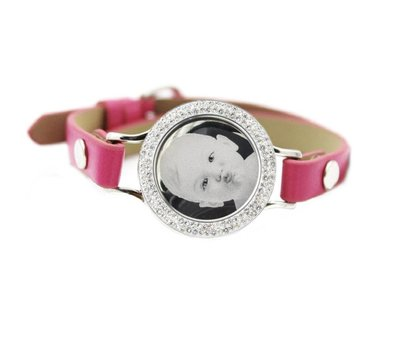 Graveer Armbanden Roze Leren Armband met foto graveer munt smal zilverkleurig met strass