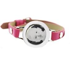 Graveer Armbanden Roze Leren Armband met foto graveer munt smal zilverkleurig
