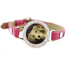 Graveer Armbanden Roze Leren Armband met foto graveer munt smal goudkleurig met strass