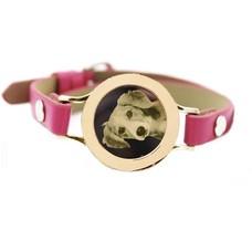 Graveer Armbanden Roze Leren Armband met foto graveer munt smal goudkleurig