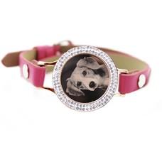 Graveer Armbanden Roze Leren Armband met foto graveer munt smal rosé goudkleurig met strass