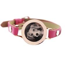 Graveer Armbanden Roze Leren Armband met foto graveer munt smal rosé goudkleurig