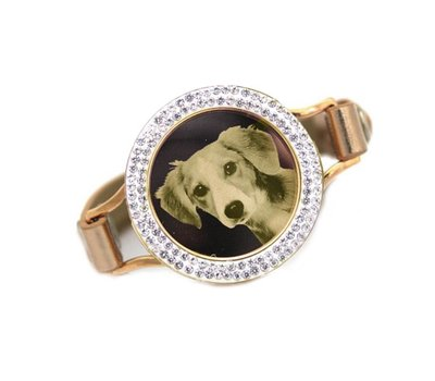 Graveer Armbanden Goudkleurige Leren Armband met foto graveer munt smal goudkleurig met strass
